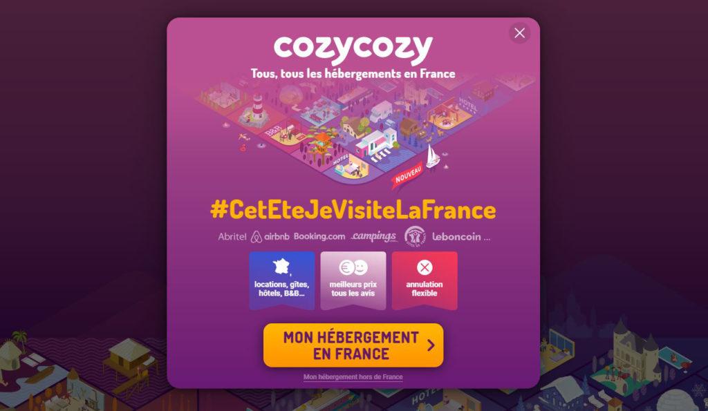 Image du site Cozy Cozy faisant référence à son comparateur dédié à la recherche d'hébergements en France.